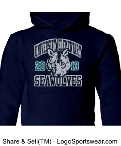 Youth Navy Blue 50/50 Seawolves Sweatshirt Design Zoom